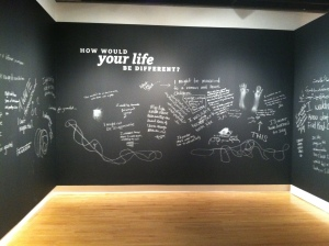 """How would your life be different?"", interactive space, Network of Mutuality"